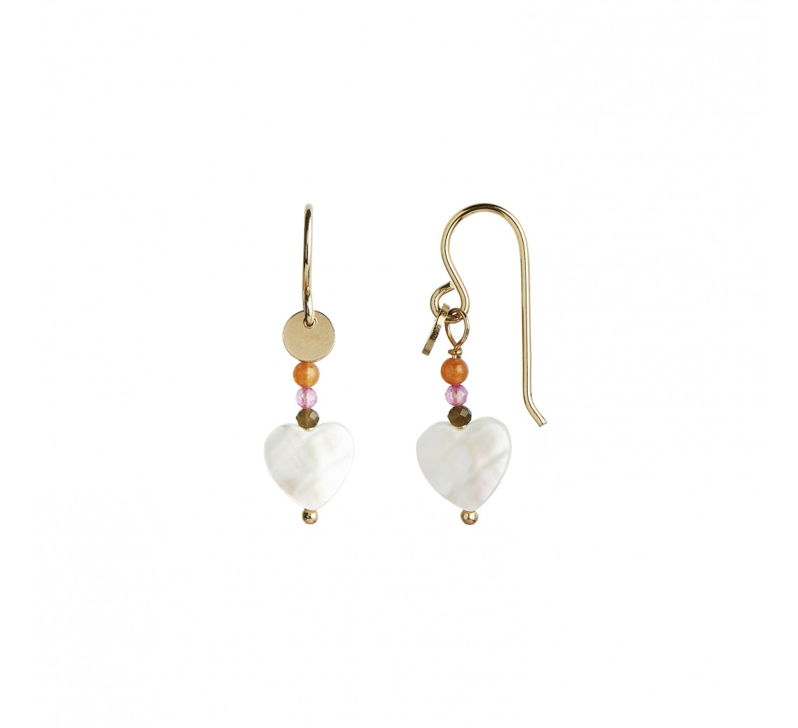 STINE A ØRERING - LOVE HEART EARRING GOLD WITH GEMSTONES - PASTEL CORAL MIX