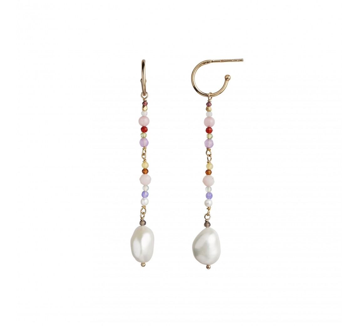 STINE A ØRERING - DANGLING BAROQUE PEARL EARRING WITH STONES - PINK MIX