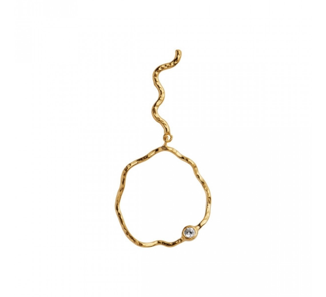 STINE A WAVY CIRCLE ØRERING WITH STONE LEFT GOLD
