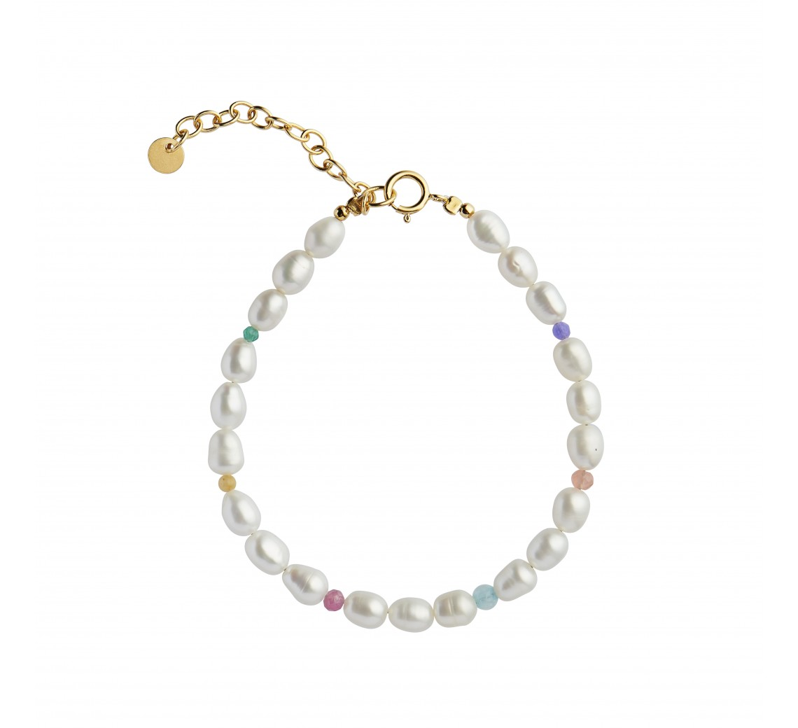 STINE A ARMBÅND - WHITE PEARLS AND CANDY STONES BRACELET GOLD