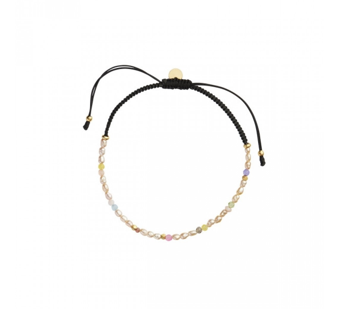 STINE A ARMBÅND - CONFETTI PEARL BRACELET WITH BEIGE AND PASTEL MIX WITH BLACK RIBBON