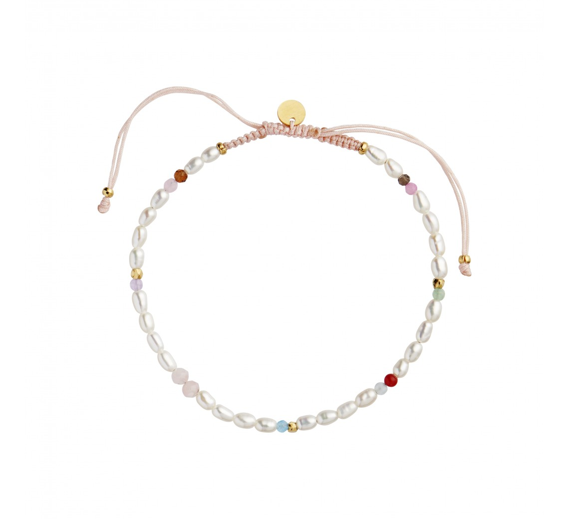 STINE A CONFETTI PEARL ARMBÅND WITH PINK PASTEL MIX WITH SOFT PINK RIBBON