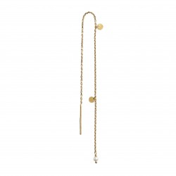 STINE A ØRERING - DANGLING PETIT COIN AND STONE EARRING GOLD - WHITE PEARL