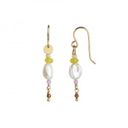 STINE A ØRERING - PETIT BAROQUE PEARL EARRING GOLD WITH CANDY STONES - SOFT LIME