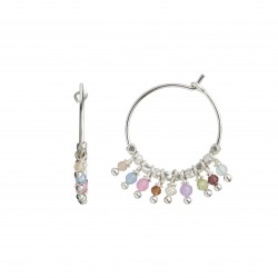STINE A ØRERING - PETIT RAINBOW HOOP SILVER WITH STONES