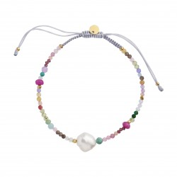 STINE A COLOR CRUSH ARMBÅND WITH MULTI MIX AND LIGHT GREY RIBBON