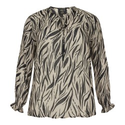 NO. 1 BY OX BLUSE LONG SLEEVES & SMOCK CUFFS SAND